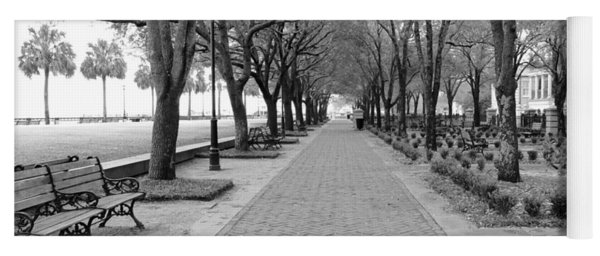 Charleston Waterfront Park Walkway - Black And White Yoga Mat