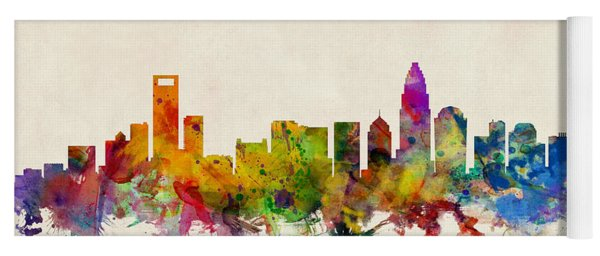 Charlotte North Carolina Skyline Yoga Mat