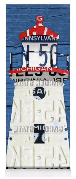 Cheboygan Crib Lighthouse Michigan Vintage License Plate Art On Wood Yoga Mat
