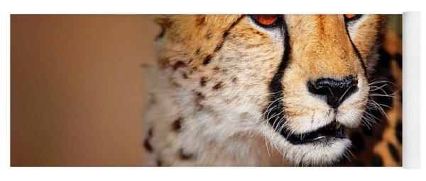 Cheetah Portrait Yoga Mat