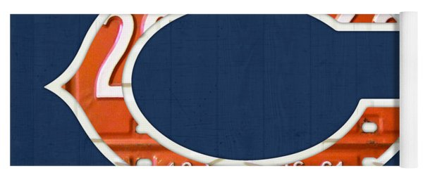 Chicago Bears Football Team Retro Logo Illinois License Plate Art Yoga Mat