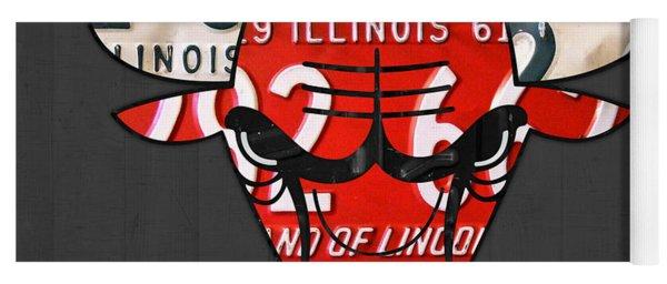 Chicago Bulls Basketball Team Retro Logo Vintage Recycled Illinois License Plate Art Yoga Mat