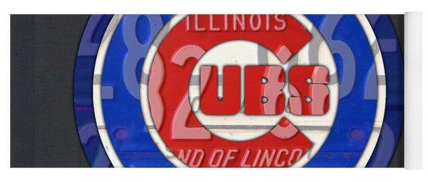 Chicago Cubs Baseball Team Retro Vintage Logo License Plate Art Yoga Mat