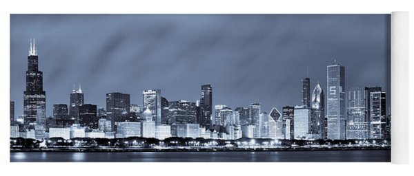 Chicago In Blue Yoga Mat