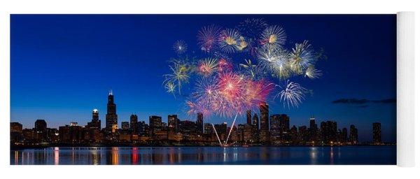 Chicago Lakefront Fireworks Yoga Mat