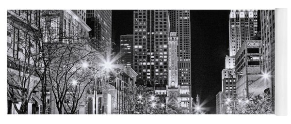 Chicago Michigan Avenue Light Streak Black And White Yoga Mat