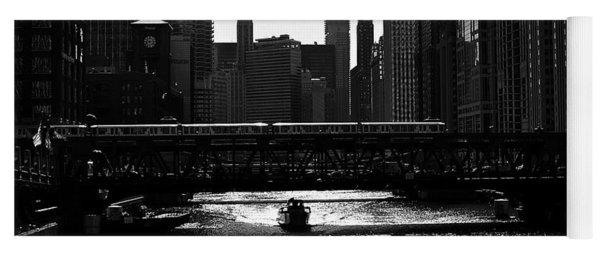 Chicago Morning Commute - Monochrome Yoga Mat