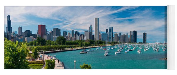 Chicago Skyline Daytime Panoramic Yoga Mat