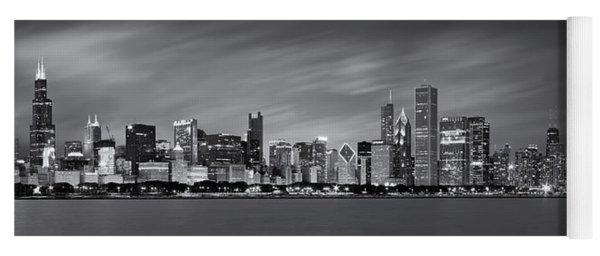 Chicago Skyline At Night Black And White Panoramic Yoga Mat