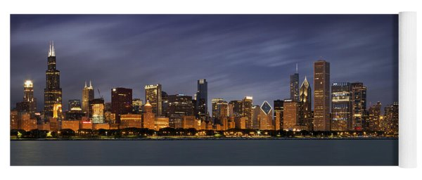 Chicago Skyline At Night Color Panoramic Yoga Mat