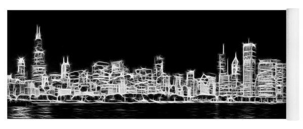 Chicago Skyline Fractal Black And White Yoga Mat