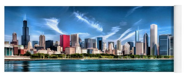 Chicago Skyline Panorama Yoga Mat