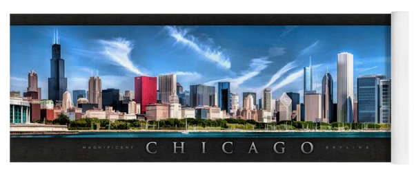 Chicago Skyline Panorama Poster Yoga Mat