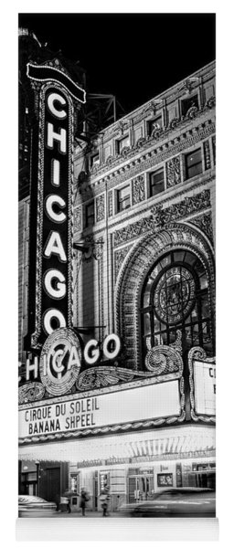Chicago Theatre Marquee Sign At Night Black And White Yoga Mat