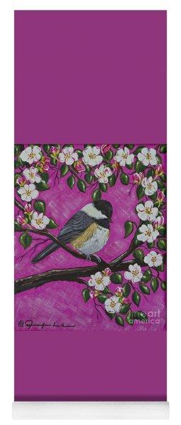 Chickadee In Apple Blossoms Yoga Mat