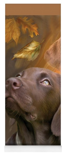 Yoga Mat featuring the mixed media Chocolate Lab by Carol Cavalaris