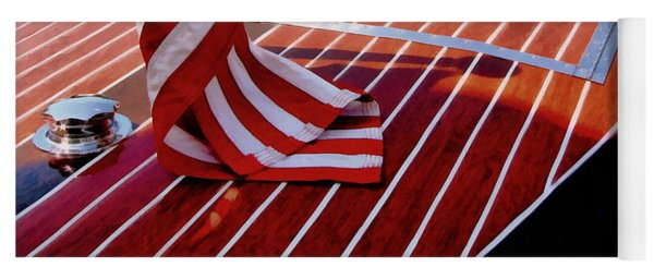 Chris Craft With American Flag Yoga Mat