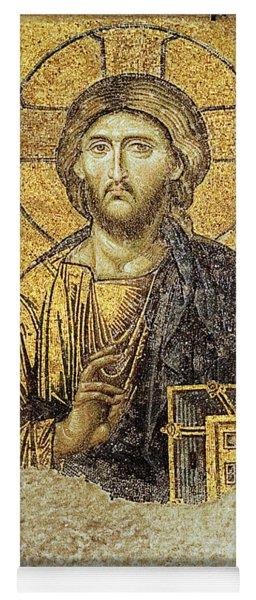 Christ Pantocrator-detail Of Deesis Mosaic Hagia Sophia-judgement Day Yoga Mat