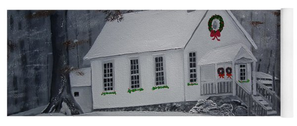 Yoga Mat featuring the painting Christmas Card - Snow - Gates Chapel by Jan Dappen