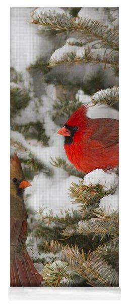 Christmas Card With Cardinals Yoga Mat