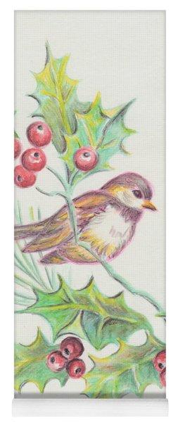 Christmas Holly Bird Yoga Mat