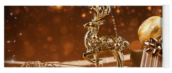 Christmas Reindeer In Gold Yoga Mat