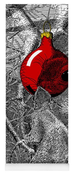 Christmas Tree Squirrel With Red Ornament Yoga Mat