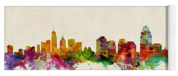 Cincinnati Ohio Skyline Yoga Mat