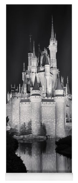 Cinderella's Castle Reflection Black And White Yoga Mat