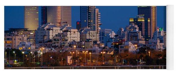 city lights and blue hour at Tel Aviv Yoga Mat