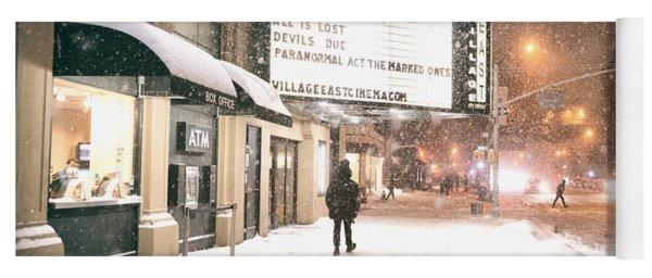 City Lights And Snow At Night - New York City Yoga Mat