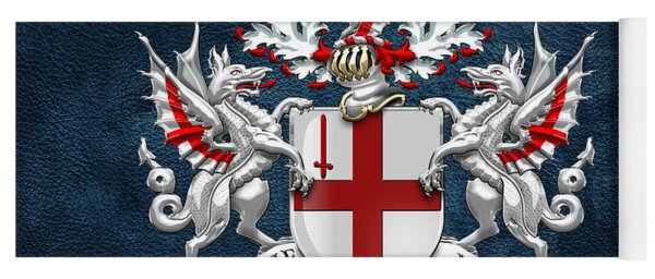 City Of London - Coat Of Arms Over Blue Leather  Yoga Mat