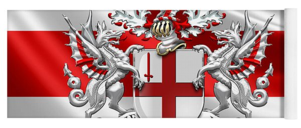 City Of London - Coat Of Arms Over Flag  Yoga Mat
