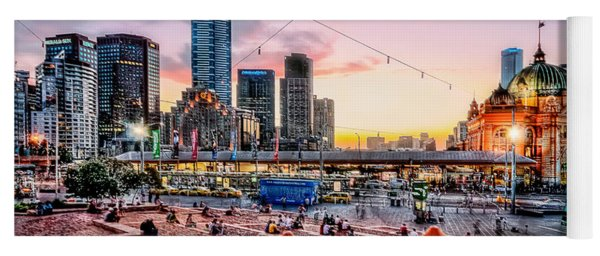 Yoga Mat featuring the photograph City Sunset by Ray Warren