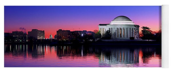 Clear Blue Morning At The Jefferson Memorial Yoga Mat