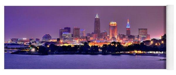 Cleveland Skyline At Night Evening Panorama Yoga Mat