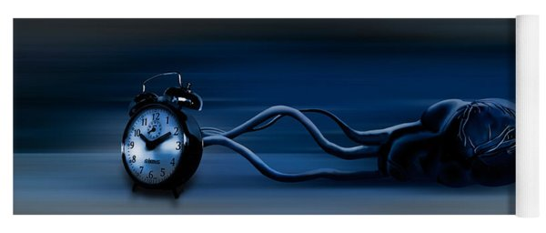 Clock Attached To Heart Yoga Mat