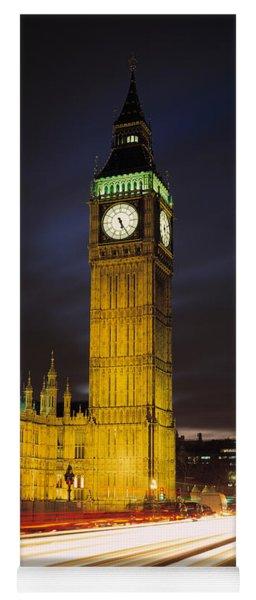 Clock Tower Lit Up At Night, Big Ben Yoga Mat