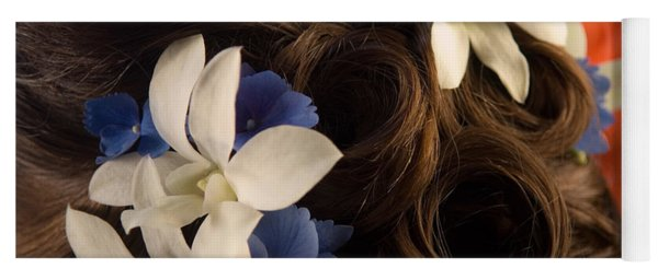 Close-up Of Flowers In A Brides Hair Yoga Mat