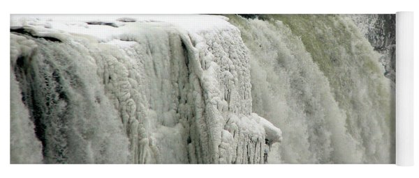 Closeup Of Icy Niagara Falls Yoga Mat