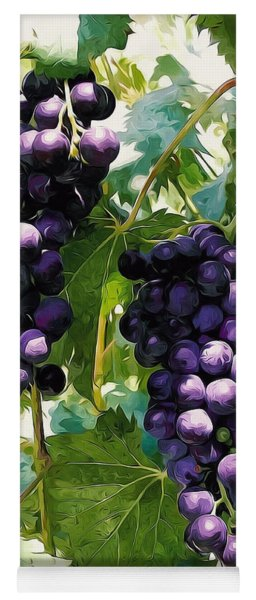 Clusters Of Red Wine Grapes Hanging On The Vine Yoga Mat