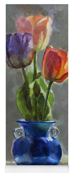 Cobalt And Tulips Still Life Painting Yoga Mat