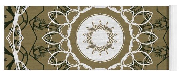 Coffee Flowers 1 Olive Ornate Medallion Yoga Mat
