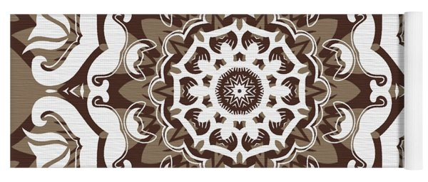 Coffee Flowers 10 Ornate Medallion Yoga Mat