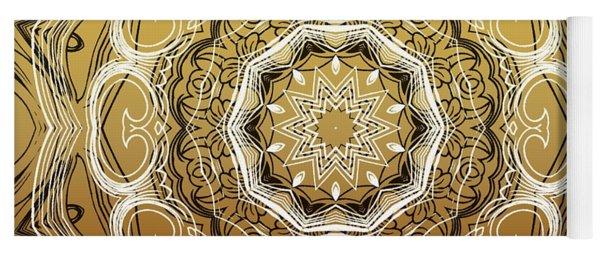 Coffee Flowers 2 Ornate Medallion Calypso Yoga Mat