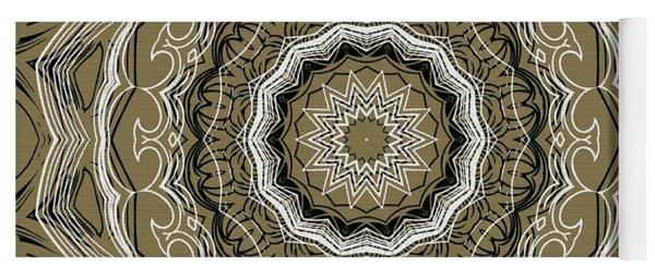 Coffee Flowers 2 Ornate Medallion Olive Yoga Mat
