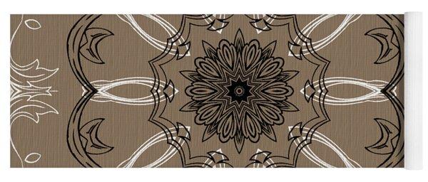 Coffee Flowers 3 Ornate Medallion Yoga Mat