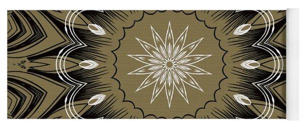 Coffee Flowers 4 Olive Ornate Medallion Yoga Mat