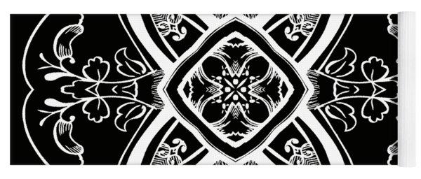 Coffee Flowers 5 Bw Ornate Medallion Yoga Mat