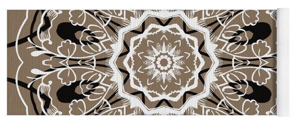 Coffee Flowers 5 Ornate Medallion Yoga Mat